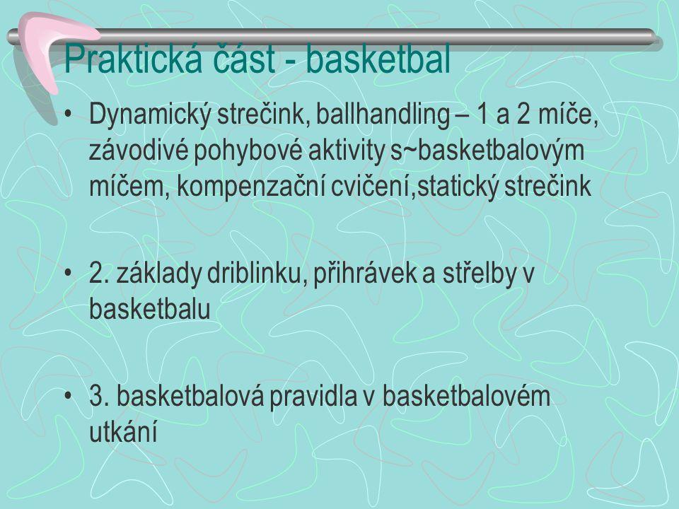 Praktická část - basketbal Dynamický strečink, ballhandling – 1 a 2 míče, závodivé pohybové aktivity s~basketbalovým míčem, kompenzační cvičení,statický strečink 2.