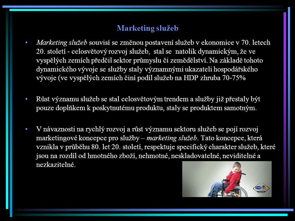 Marketing služeb Marketing služeb souvisí se změnou postavení služeb v ekonomice v 70. letech 20. století - celosvětový rozvoj služeb, stal se natolik