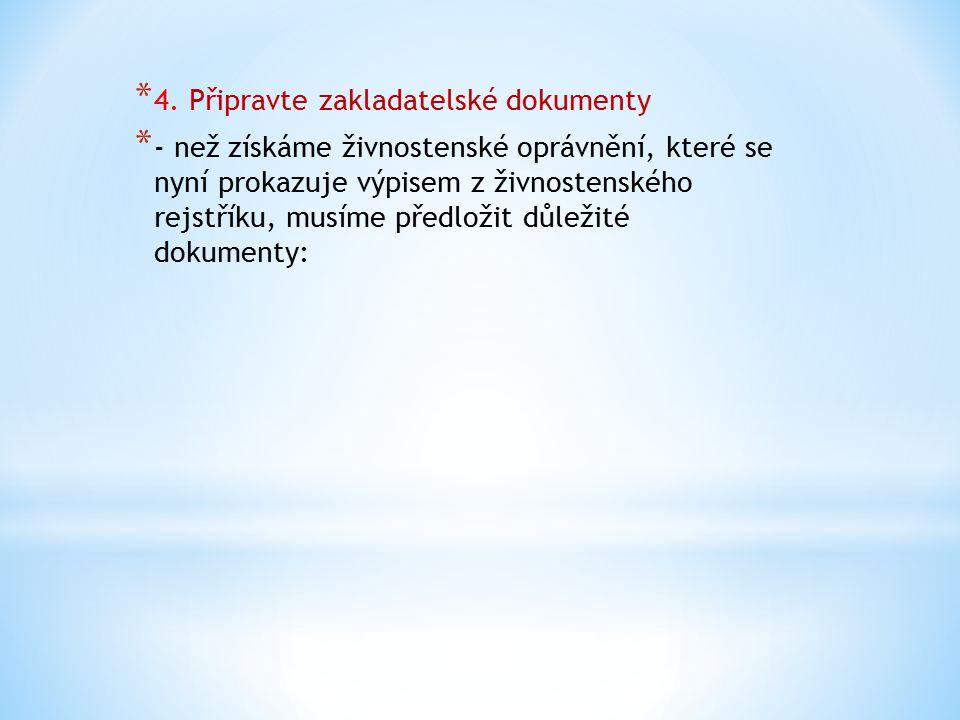 * - výpis z rejstříku trestů (nesmí být starší než 3 * měsíce) * - výpis z rejstříku trestů odpovědného zástupce * ( jeli potřeba) * - doklady o odborné způsobilosti * - prohlášení odpovědného zástupce, že * souhlasí s ustanovením do funkce * - zahraniční FO připojí doklad o pobytu * - doklad o zaplacení správního poplatku(za vydání * výpisu ze živnostenského rejstříku 1 000,- Kč) * - PO připojí doklad o založení, případně doklad o * zápisu do obchodního rejstříku