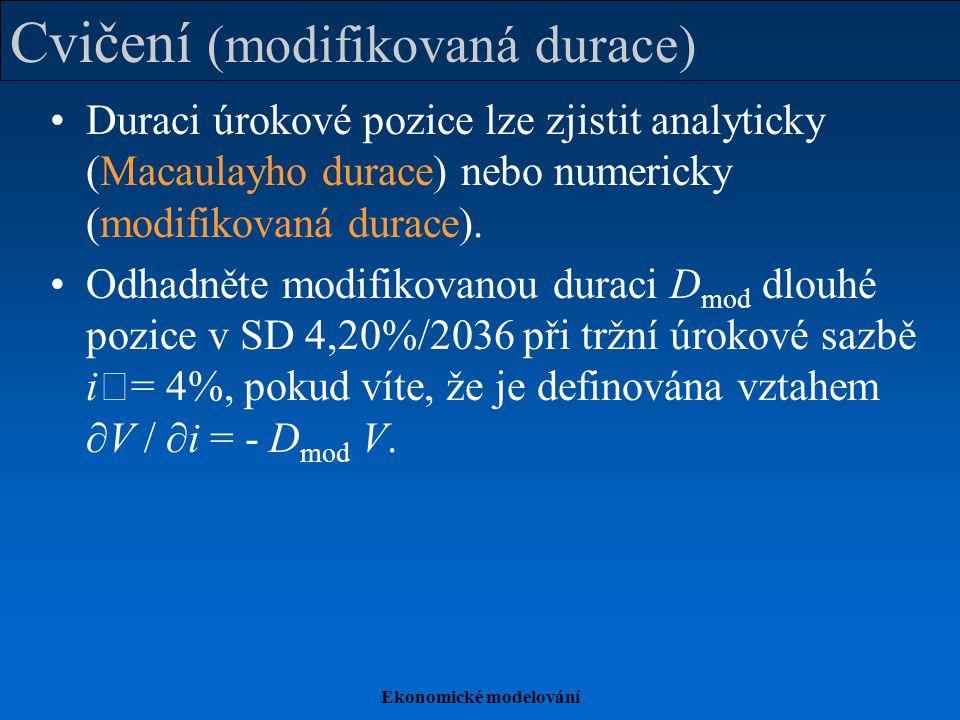 Ekonomické modelování Cvičení (modifikovaná durace) Duraci úrokové pozice lze zjistit analyticky (Macaulayho durace) nebo numericky (modifikovaná durace).