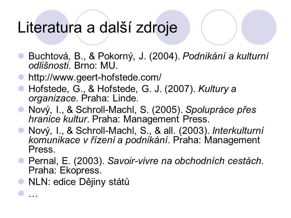 Literatura a další zdroje Buchtová, B., & Pokorný, J.