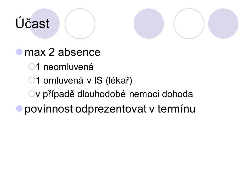 Účast max 2 absence  1 neomluvená  1 omluvená v IS (lékař)  v případě dlouhodobé nemoci dohoda povinnost odprezentovat v termínu