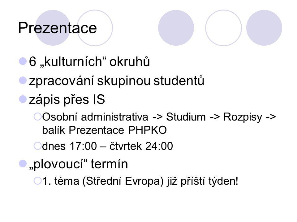 """Prezentace 6 """"kulturních okruhů zpracování skupinou studentů zápis přes IS  Osobní administrativa -> Studium -> Rozpisy -> balík Prezentace PHPKO  dnes 17:00 – čtvrtek 24:00 """"plovoucí termín  1."""