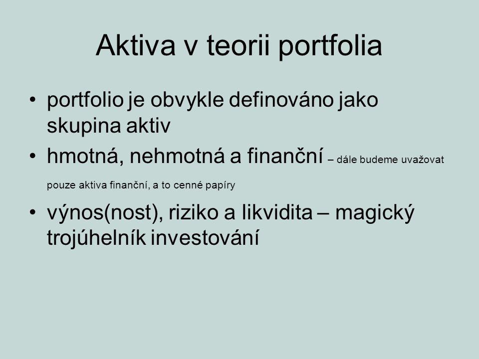 Aktiva v teorii portfolia portfolio je obvykle definováno jako skupina aktiv hmotná, nehmotná a finanční – dále budeme uvažovat pouze aktiva finanční,