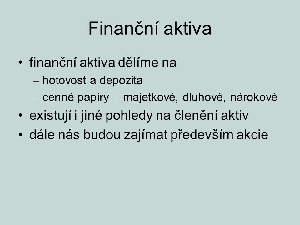Finanční aktiva finanční aktiva dělíme na –hotovost a depozita –cenné papíry – majetkové, dluhové, nárokové existují i jiné pohledy na členění aktiv d