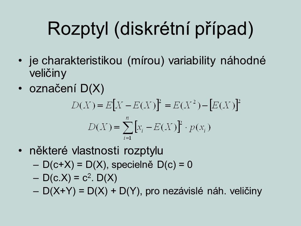 Rozptyl (diskrétní případ) je charakteristikou (mírou) variability náhodné veličiny označení D(X) některé vlastnosti rozptylu –D(c+X) = D(X), specieln