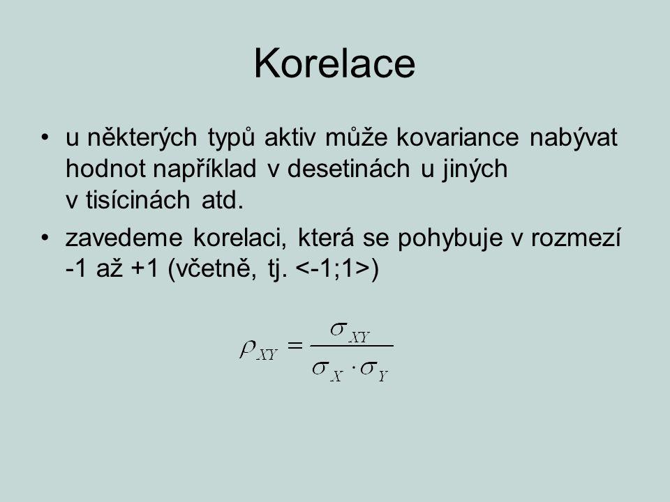 Korelace u některých typů aktiv může kovariance nabývat hodnot například v desetinách u jiných v tisícinách atd. zavedeme korelaci, která se pohybuje