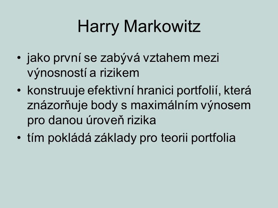 Harry Markowitz jako první se zabývá vztahem mezi výnosností a rizikem konstruuje efektivní hranici portfolií, která znázorňuje body s maximálním výno