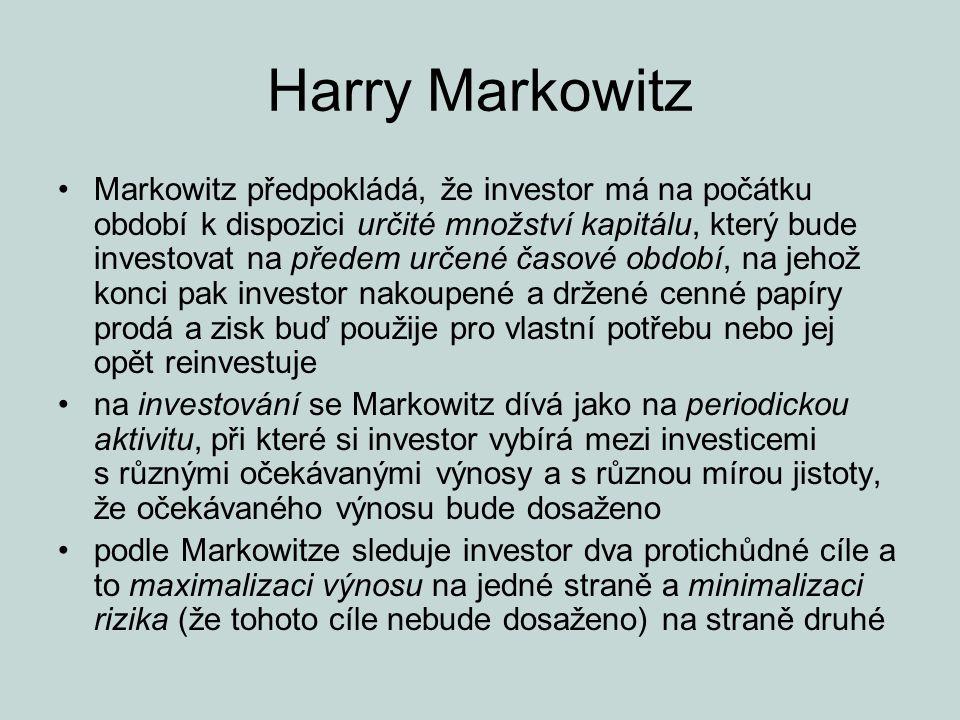 Harry Markowitz Markowitz předpokládá, že investor má na počátku období k dispozici určité množství kapitálu, který bude investovat na předem určené č
