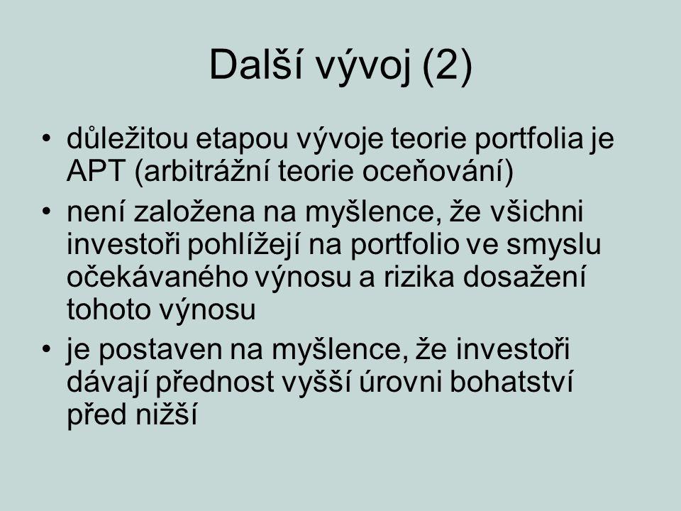 Další vývoj (2) důležitou etapou vývoje teorie portfolia je APT (arbitrážní teorie oceňování) není založena na myšlence, že všichni investoři pohlížej