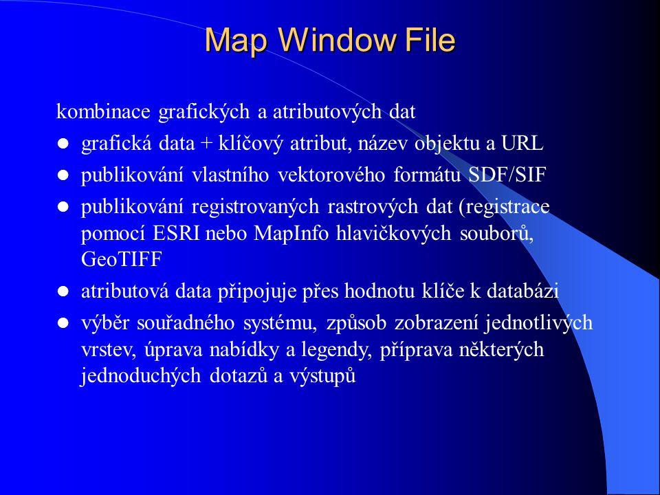 Map Window File kombinace grafických a atributových dat grafická data + klíčový atribut, název objektu a URL publikování vlastního vektorového formátu SDF/SIF publikování registrovaných rastrových dat (registrace pomocí ESRI nebo MapInfo hlavičkových souborů, GeoTIFF atributová data připojuje přes hodnotu klíče k databázi výběr souřadného systému, způsob zobrazení jednotlivých vrstev, úprava nabídky a legendy, příprava některých jednoduchých dotazů a výstupů