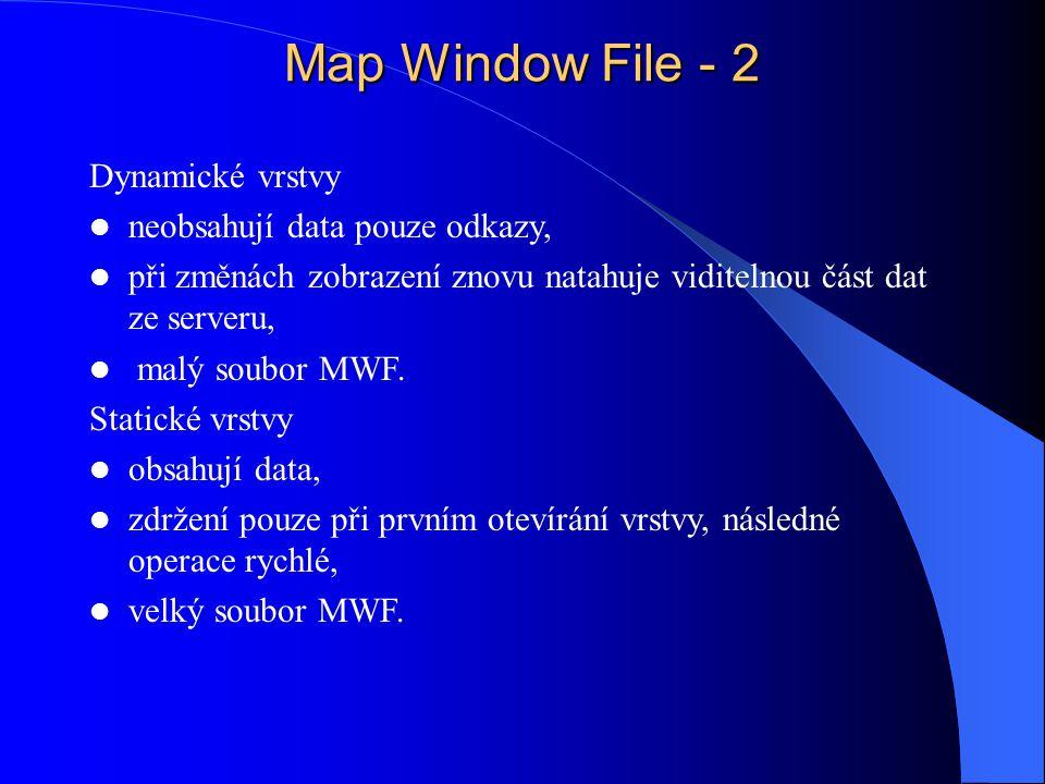 Map Window File - 2 Dynamické vrstvy neobsahují data pouze odkazy, při změnách zobrazení znovu natahuje viditelnou část dat ze serveru, malý soubor MWF.