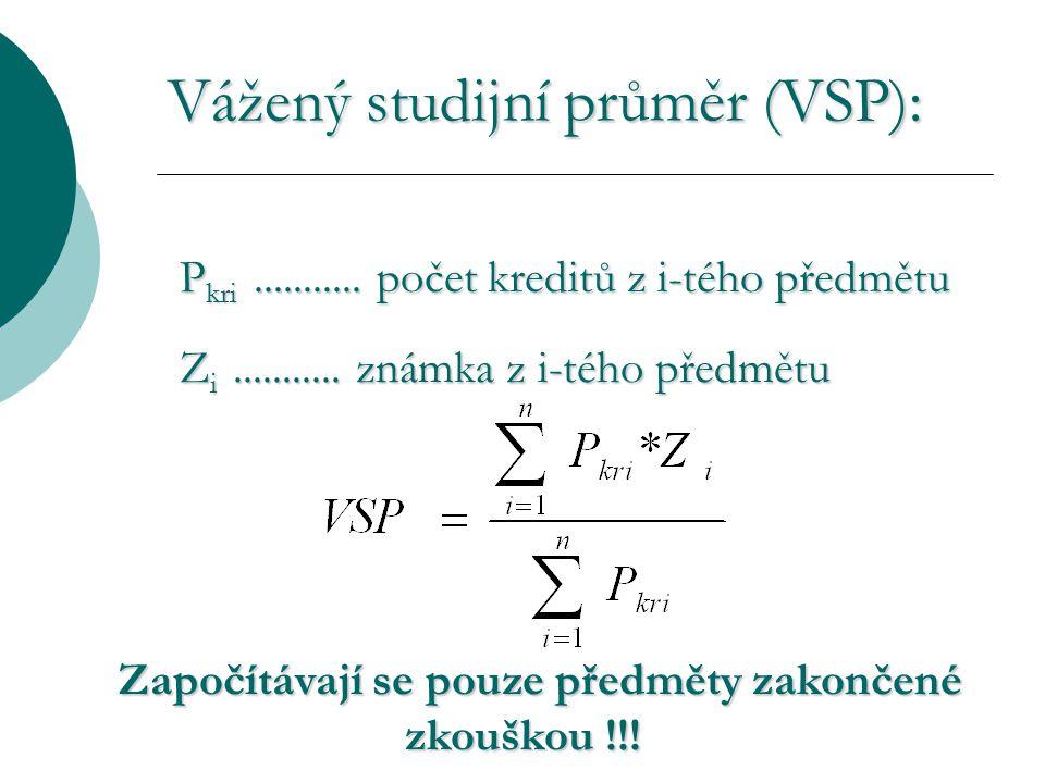 Vážený studijní průměr (VSP): P kri........... počet kreditů z i-tého předmětu Z i...........