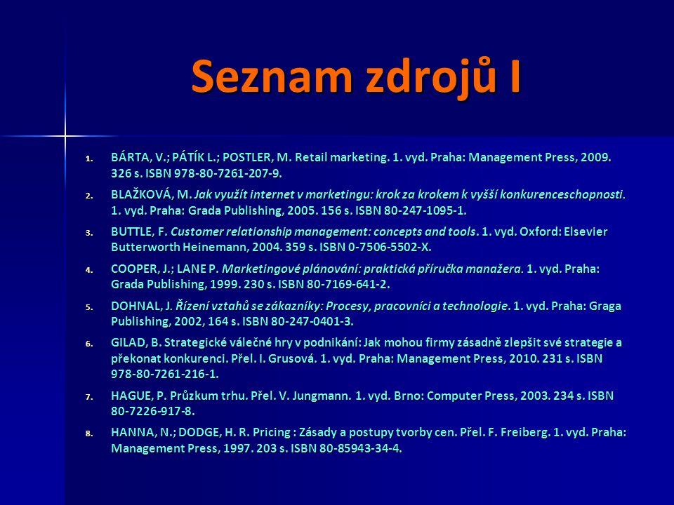 Seznam zdrojů I 1. BÁRTA, V.; PÁTÍK L.; POSTLER, M. Retail marketing. 1. vyd. Praha: Management Press, 2009. 326 s. ISBN 978-80-7261-207-9. 2. BLAŽKOV