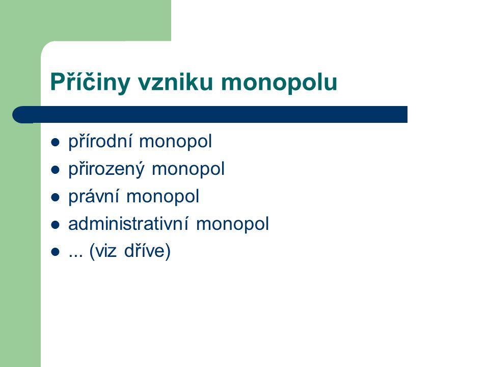 Příčiny vzniku monopolu přírodní monopol přirozený monopol právní monopol administrativní monopol... (viz dříve)