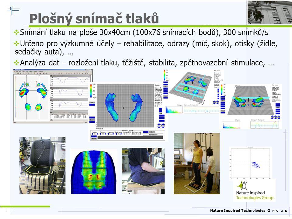 Nature Inspired Technologies G r o u p Plošný snímač tlaků  Snímání tlaku na ploše 30x40cm (100x76 snímacích bodů), 300 snímků/s  Určeno pro výzkumn