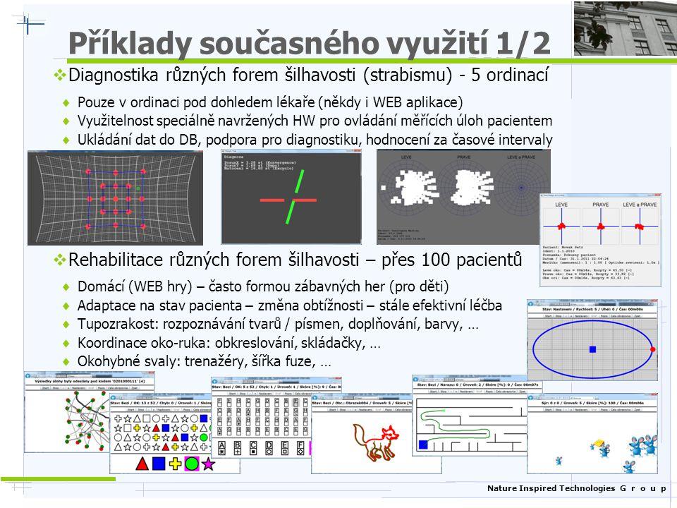 Nature Inspired Technologies G r o u p Příklady současného využití 1/2  Diagnostika různých forem šilhavosti (strabismu) - 5 ordinací  Pouze v ordin