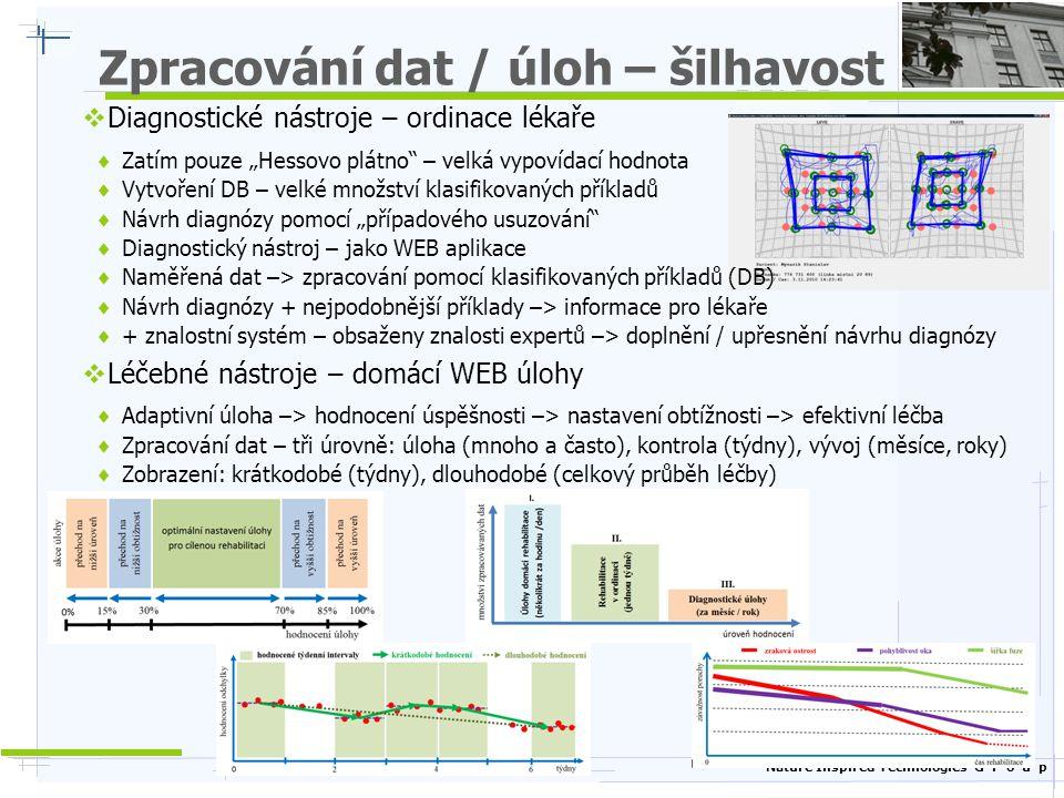 Nature Inspired Technologies G r o u p Příklady současného využití 2/2  Cvičení kognitivních schopností po úrazu mozku – CEREBRUM (Praha)  Postřehové a stresové testy (zátěžové, operátoři, …)  Tele-testování (vzdálené testování s možným OnLine hodnocením)  Z-Testy (soubor testů pro měření / vyvolání stresu, inspirace doc.
