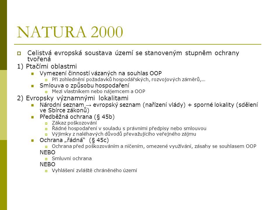 NATURA 2000  Celistvá evropská soustava území se stanoveným stupněm ochrany tvořená 1) Ptačími oblastmi Vymezení činností vázaných na souhlas OOP  P