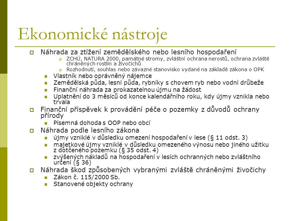 Ekonomické nástroje  Náhrada za ztížení zemědělského nebo lesního hospodaření  ZCHÚ, NATURA 2000, památné stromy, zvláštní ochrana nerostů, ochrana