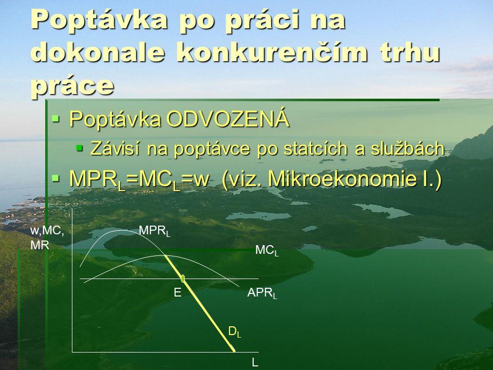 Poptávka po práci na dokonale konkurenčím trhu práce  Poptávka ODVOZENÁ  Závisí na poptávce po statcích a službách  MPR L =MC L =w (viz.