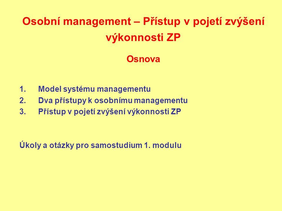 Osobní management – Přístup v pojetí zvýšení výkonnosti ZP Osnova 1.Model systému managementu 2.Dva přístupy k osobnímu managementu 3.Přístup v pojetí zvýšení výkonnosti ZP Úkoly a otázky pro samostudium 1.