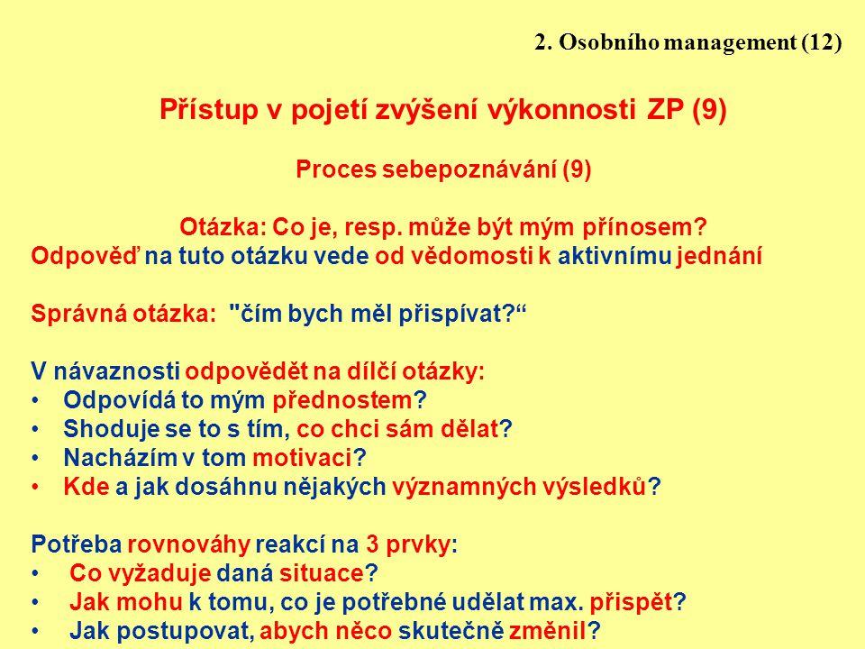 14 Přístup v pojetí zvýšení výkonnosti ZP (9) Proces sebepoznávání (9) Otázka: Co je, resp. může být mým přínosem? Odpověď na tuto otázku vede od vědo