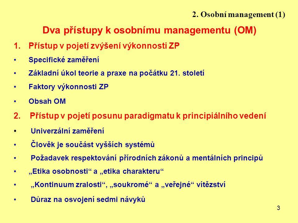 3 2. Osobní management (1) Dva přístupy k osobnímu managementu (OM) 1.Přístup v pojetí zvýšení výkonnosti ZP Specifické zaměření Základní úkol teorie