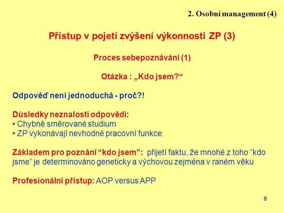 """6 Přístup v pojetí zvýšení výkonnosti ZP (3) Proces sebepoznávání (1) Otázka : """"Kdo jsem?"""" Odpověď není jednoduchá - proč?! Důsledky neznalosti odpově"""