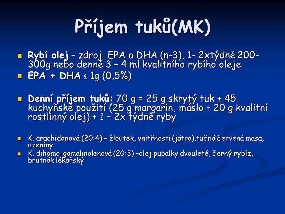 Příjem tuků(MK) Rybí olej – zdroj EPA a DHA (n-3), 1- 2xtýdně 200- 300g nebo denně 3 – 4 ml kvalitního rybího oleje Rybí olej – zdroj EPA a DHA (n-3), 1- 2xtýdně 200- 300g nebo denně 3 – 4 ml kvalitního rybího oleje EPA + DHA ≤ 1g (0,5%) EPA + DHA ≤ 1g (0,5%) Denní příjem tuků: 70 g = 25 g skrytý tuk + 45 kuchyňské použití (25 g margarin, máslo + 20 g kvalitní rostlinný olej) + 1 – 2x týdně ryby Denní příjem tuků: 70 g = 25 g skrytý tuk + 45 kuchyňské použití (25 g margarin, máslo + 20 g kvalitní rostlinný olej) + 1 – 2x týdně ryby K.