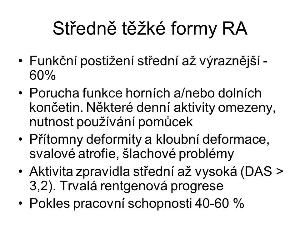 Středně těžké formy RA Funkční postižení střední až výraznější - 60% Porucha funkce horních a/nebo dolních končetin. Některé denní aktivity omezeny, n