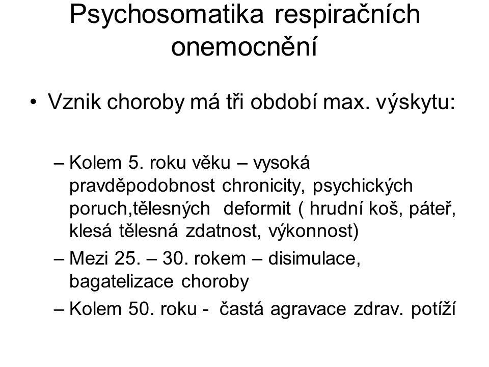 Psychosomatika astma bronchiale Rizikové faktory: –Faktory hostitele –Faktory prostředí –Faktory psychosociální –Faktory organické Osobnostní charakteristiky: Panický strach (nezávislý na závažnosti choroby), anxieta, únava, vyčerpání, duševní napětí,závislost, depresivita,neuroticismus,egocentrismus,podezíravost, přecitlivělost,hostilita,těžce se vyrovnávají s frustracemi.