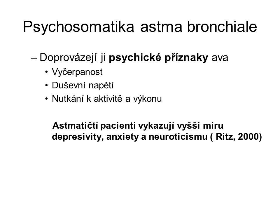 Psychosomatika astma bronchiale –Doprovázejí ji psychické příznaky ava Vyčerpanost Duševní napětí Nutkání k aktivitě a výkonu Astmatičtí pacienti vyka