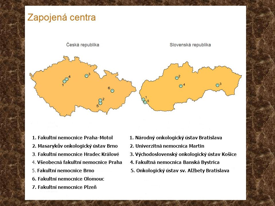 1. Fakultní nemocnice Praha-Motol 1. Národný onkologický ústav Bratislava 2. Masarykův onkologický ústav Brno 2. Univerzitná nemocnica Martin 3. Fakul