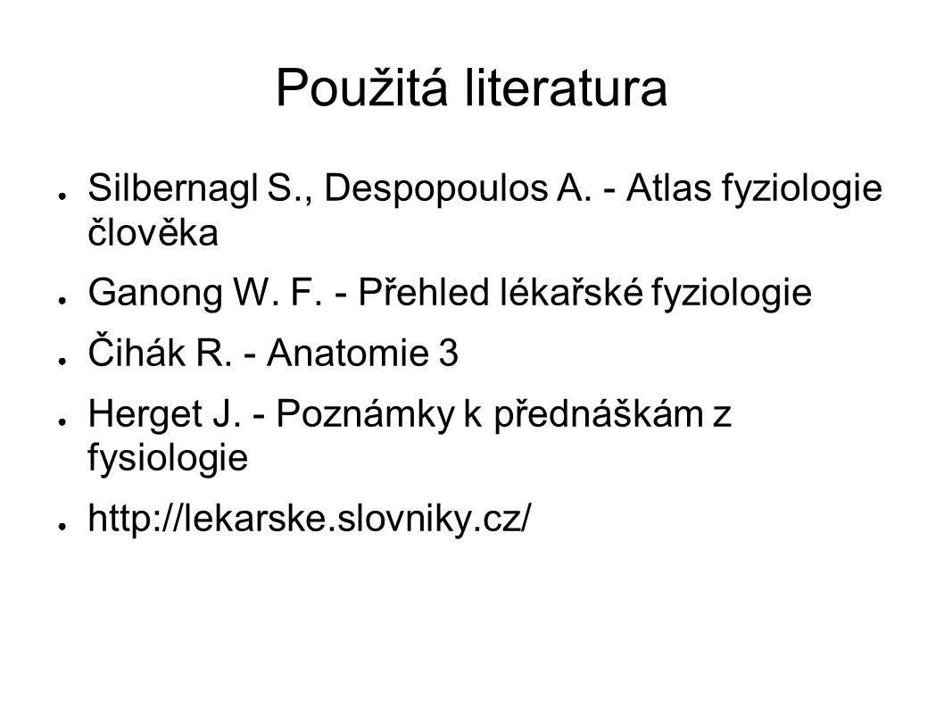 Použitá literatura ● Silbernagl S., Despopoulos A. - Atlas fyziologie člověka ● Ganong W. F. - Přehled lékařské fyziologie ● Čihák R. - Anatomie 3 ● H