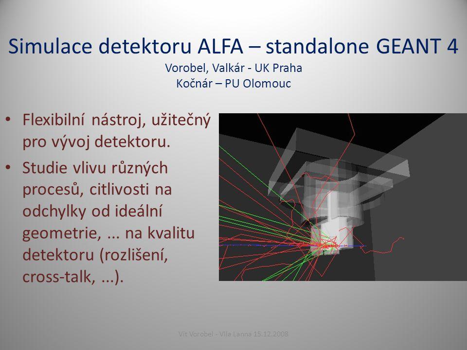 Simulace detektoru ALFA – standalone GEANT 4 Vorobel, Valkár - UK Praha Kočnár – PU Olomouc Flexibilní nástroj, užitečný pro vývoj detektoru.