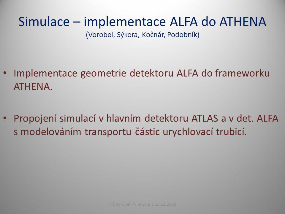 Simulace – implementace ALFA do ATHENA (Vorobel, Sýkora, Kočnár, Podobník) Implementace geometrie detektoru ALFA do frameworku ATHENA.