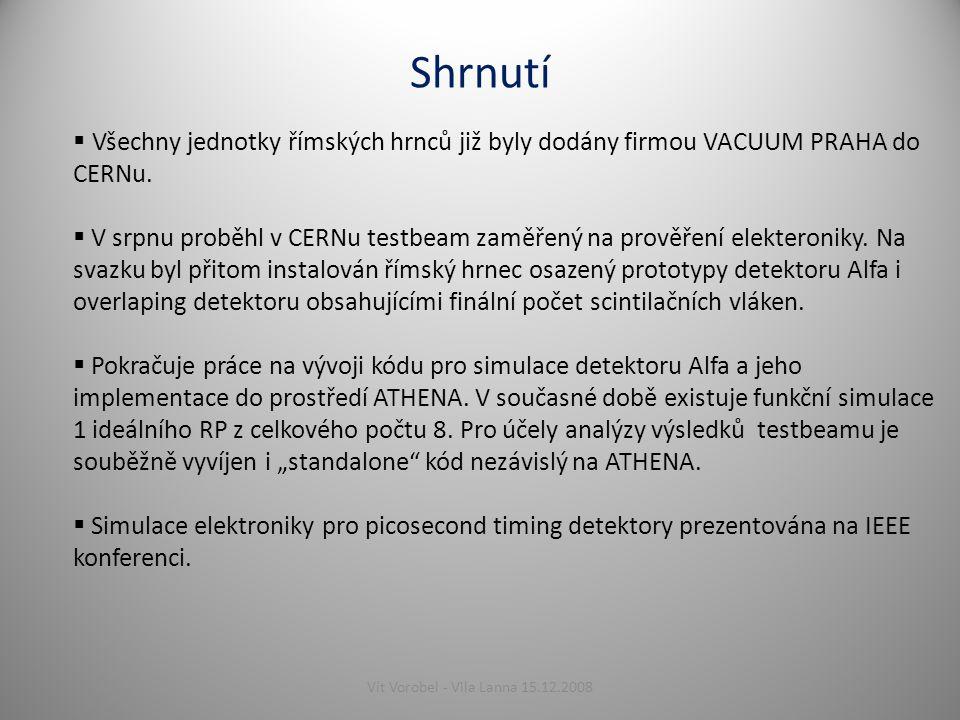 Shrnutí  Všechny jednotky římských hrnců již byly dodány firmou VACUUM PRAHA do CERNu.