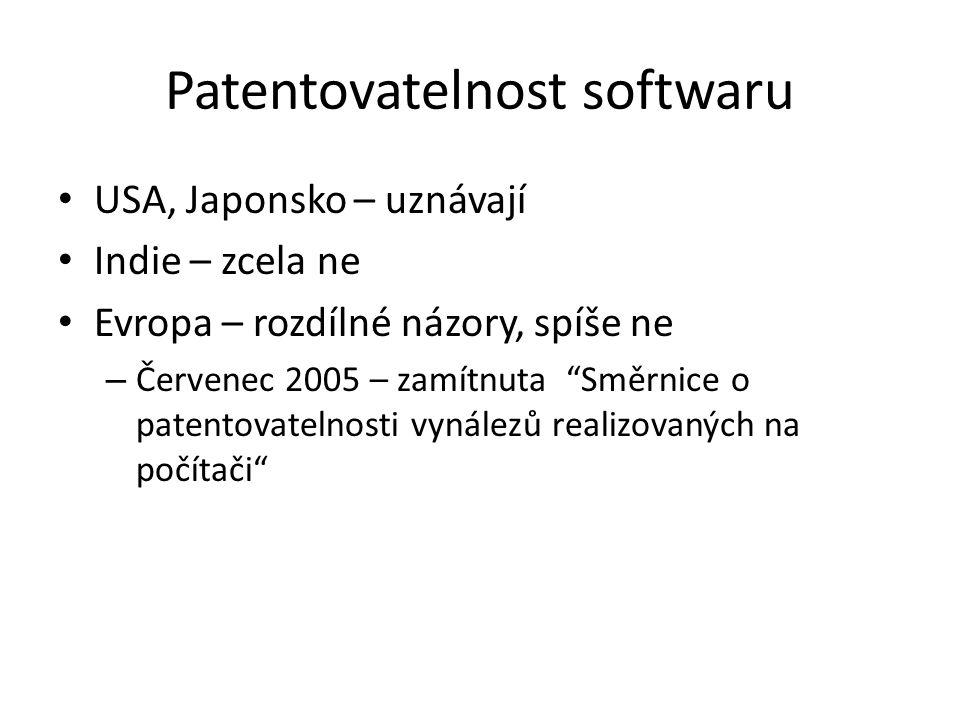 """Patentovatelnost softwaru USA, Japonsko – uznávají Indie – zcela ne Evropa – rozdílné názory, spíše ne – Červenec 2005 – zamítnuta """"Směrnice o patento"""