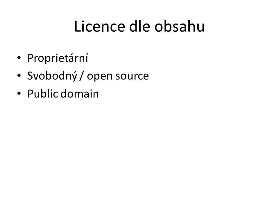 Licence dle obsahu Proprietární Svobodný / open source Public domain