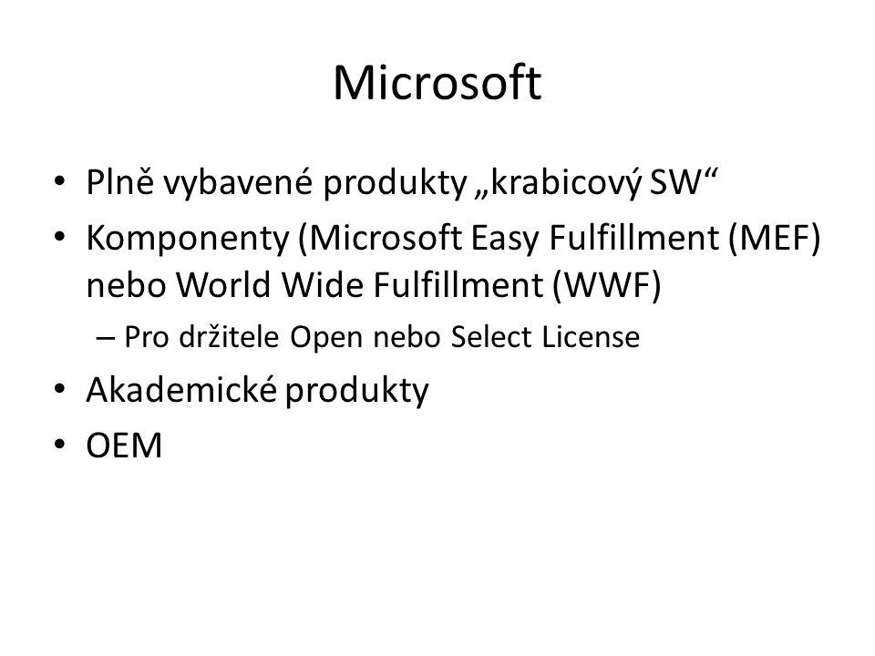 """Microsoft Plně vybavené produkty """"krabicový SW"""" Komponenty (Microsoft Easy Fulfillment (MEF) nebo World Wide Fulfillment (WWF) – Pro držitele Open neb"""
