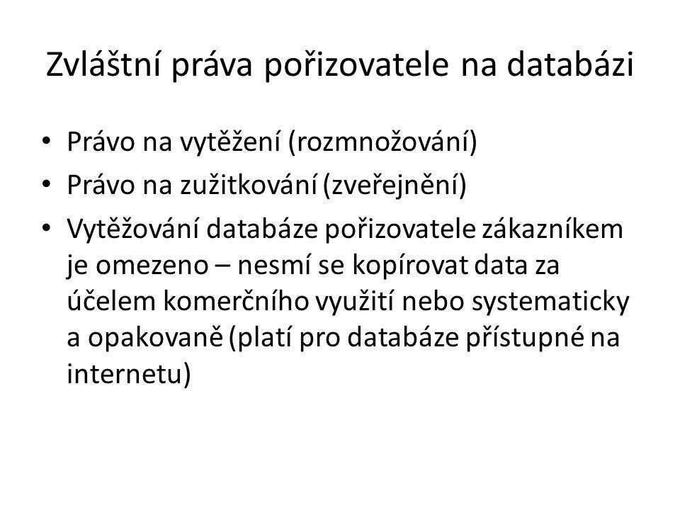 Zvláštní práva pořizovatele na databázi Právo na vytěžení (rozmnožování) Právo na zužitkování (zveřejnění) Vytěžování databáze pořizovatele zákazníkem