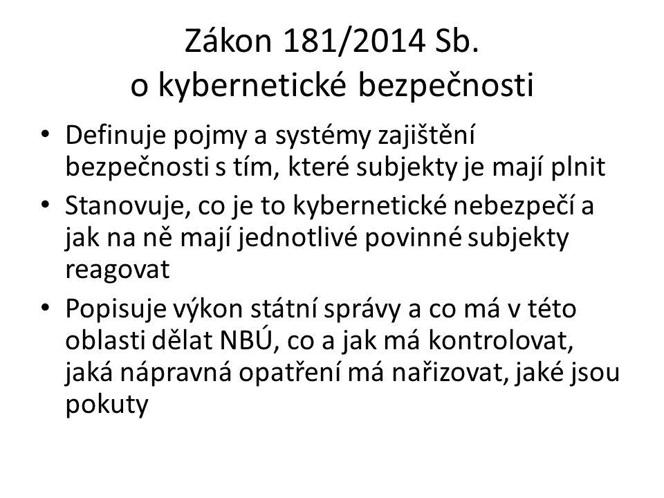Zákon 181/2014 Sb. o kybernetické bezpečnosti Definuje pojmy a systémy zajištění bezpečnosti s tím, které subjekty je mají plnit Stanovuje, co je to k