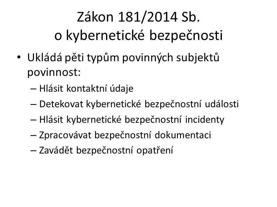 Zákon 181/2014 Sb. o kybernetické bezpečnosti Ukládá pěti typům povinných subjektů povinnost: – Hlásit kontaktní údaje – Detekovat kybernetické bezpeč