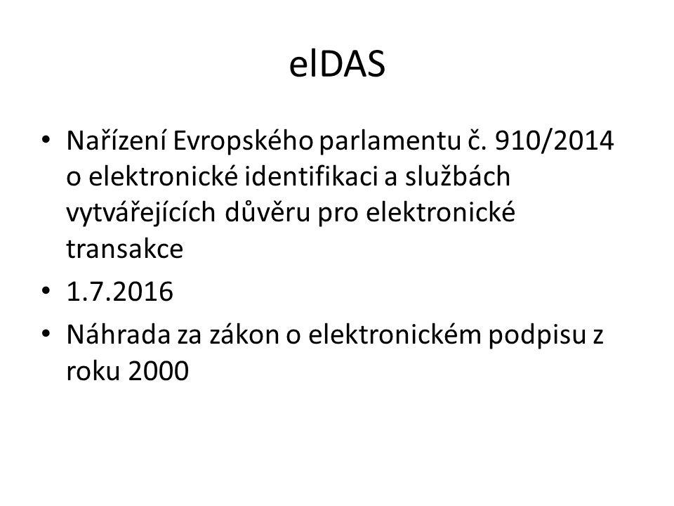 elDAS Nařízení Evropského parlamentu č. 910/2014 o elektronické identifikaci a službách vytvářejících důvěru pro elektronické transakce 1.7.2016 Náhra