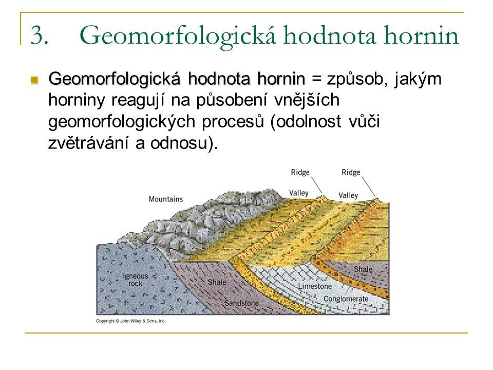 4.Úložné poměry hornin a reliéf Reliéf na horizontálně nebo subhorizontálně uložených horninách Reliéf na ukloněných horninách Reliéf na zvrásněných horninách Reliéf na rozlámaných horninách