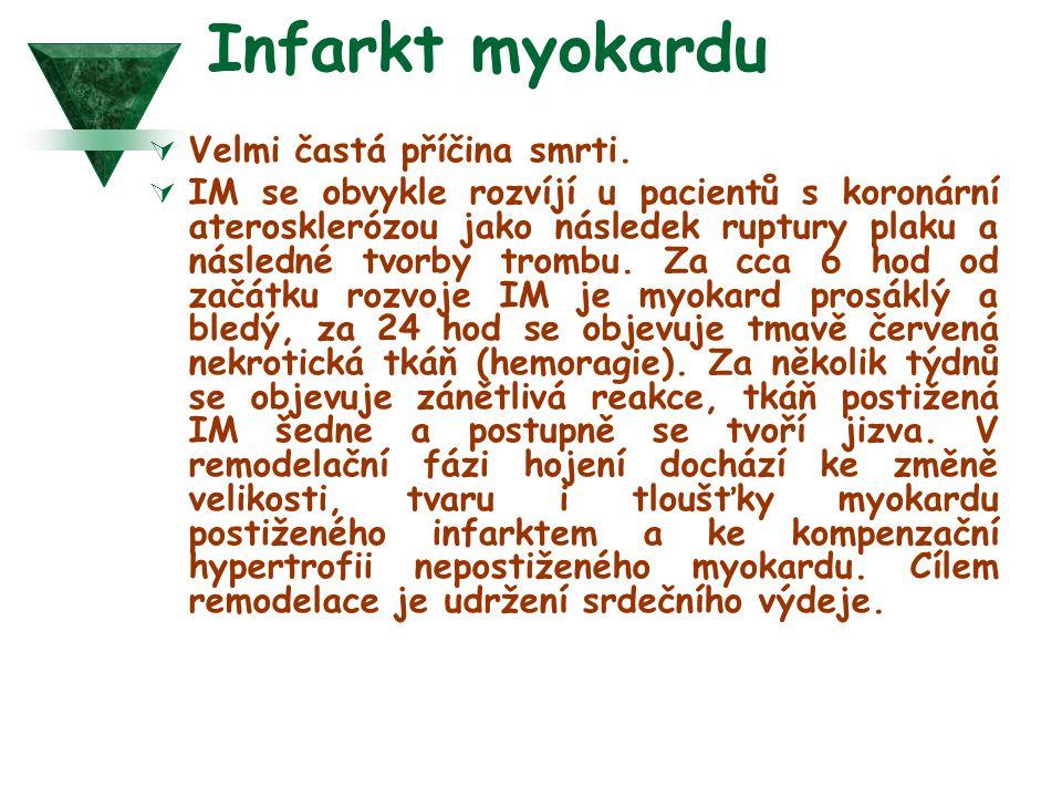 Infarkt myokardu  Velmi častá příčina smrti.  IM se obvykle rozvíjí u pacientů s koronární aterosklerózou jako následek ruptury plaku a následné tvo