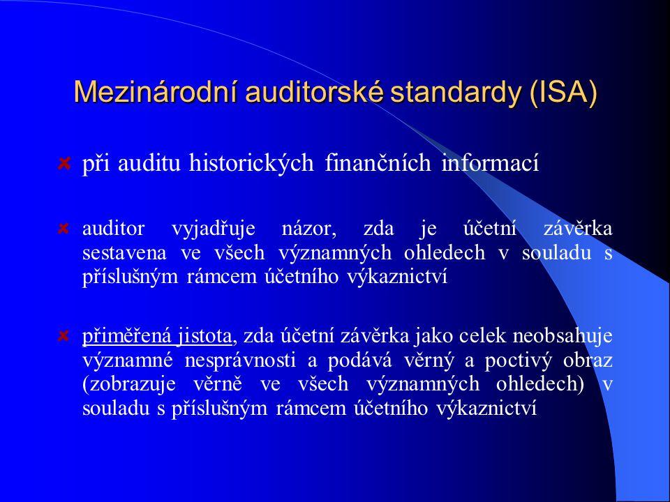 Mezinárodní auditorské standardy (ISA) při auditu historických finančních informací auditor vyjadřuje názor, zda je účetní závěrka sestavena ve všech významných ohledech v souladu s příslušným rámcem účetního výkaznictví přiměřená jistota, zda účetní závěrka jako celek neobsahuje významné nesprávnosti a podává věrný a poctivý obraz (zobrazuje věrně ve všech významných ohledech) v souladu s příslušným rámcem účetního výkaznictví
