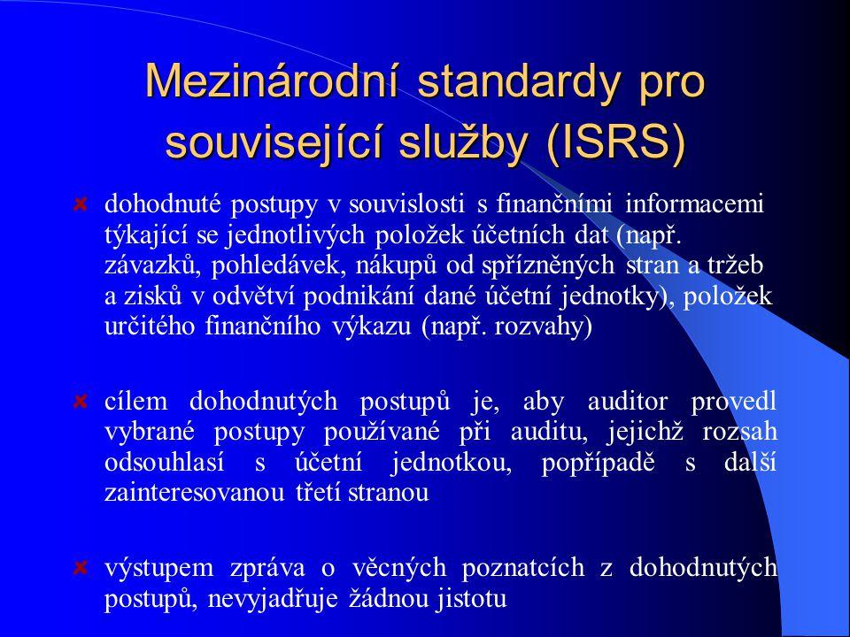 Mezinárodní standardy pro související služby (ISRS) dohodnuté postupy v souvislosti s finančními informacemi týkající se jednotlivých položek účetních