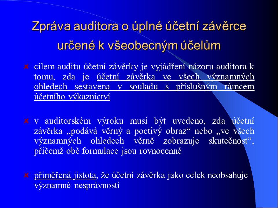 Zpráva auditora o úplné účetní závěrce určené k všeobecným účelům cílem auditu účetní závěrky je vyjádření názoru auditora k tomu, zda je účetní závěr
